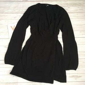 H&M Dresses - h&m womens m black sweater dress vneck faux wrap w